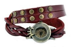 Leather bracelet with watch