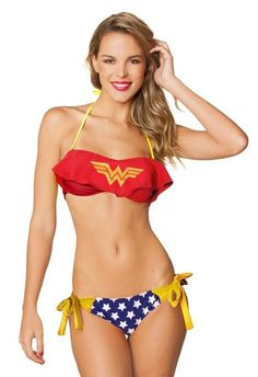 (affiliate link) DC COMICS WONDER WOMAN RUFFLE BANDEAU SIDE TIE BIKINI SWIMSUIT