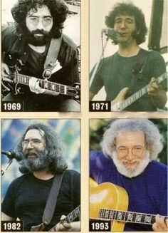 Jerry Garcia throughout the years
