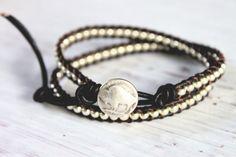 Buffalo Nickel Silver Bead Wrap Bracelet  by merrynwhimsy on Etsy, $33.00