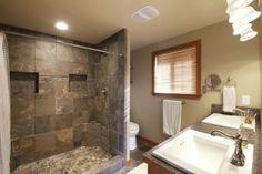 Master #bath w/slate floors, spa-like shower.