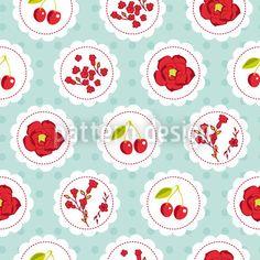 Grannys Cherry Garden Blue by Katrin Kristjansdottir available for download as a vector file on patterndesigns.com Vector Pattern, Pattern Design, Starter Set, Blue Design, Repeating Patterns, Vector File, Surface Design, Cherry, Create