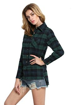 Awesome Sheinside Women's Long Sleeve Plaid Loose Blouse,  PLEASE CHOOSE YOUR SIZE BASED ON BUST MEASUREMENT IN THE IMAGE Material : 90%Cotton & 10%Polyester Hand Wash Seperately in Cold Water., http://teensdepot.com/product/sheinside-womens-long-sleeve-plaid-loose-blouse/