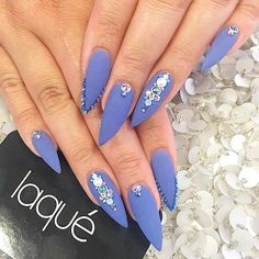 Startling Ideas of Stilettos Nails to Obsess About. Love the matt finish! I think I'd do a few less rhinestones, but these are gorg! ★ See more: https://naildesignsjournal.com/stilettos-nails-startling-ideas/ #nails