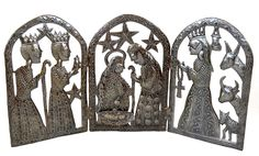 Tryptic Nativity for Christmas Haitian Metal Art 34' x 15' >>> You can find more details by visiting the image link. (This is an affiliate link and I receive a commission for the sales)