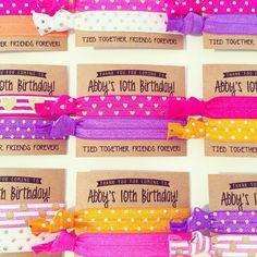 Custom Birthday Party Hair Tie Favors // Custom Hair by LoveMiaCo