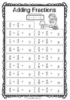 Adding Fractions Same Denominator - Fraction Addition - Worksheets Math Fraction Games, 5th Grade Math Games, Math Fractions Worksheets, 4th Grade Math Worksheets, Addition Of Fractions, Adding Fractions, Math Genius, Math Sheets, Math Word Problems