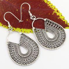 925 Solid Sterling Silver Lovely Design PLAIN No Stones Vintage Style Earrings #SunriseJewellers #DropDangle