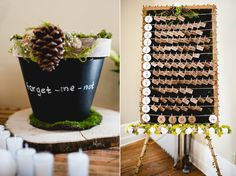 Rustic wedding escort card display with kraft paper and moss | OneWed.com