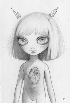 Hybrid Dressed as an Alien  4 x 6 in  Graphite on paper