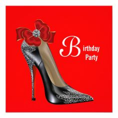 Red Black High Heel Shoe Birthday Party Invitation