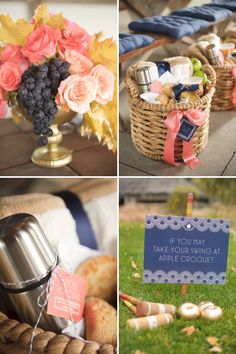 Absolutely beautiful Engagement Party - but the colors and ideas could be used for any type of party. Unusual and gorgeous colors: peach, gold and navy blue