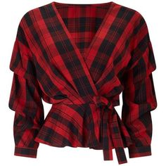 Miss Selfridge Red Checked Tuck Sleeve Wrap Blouse (68 CAD) ❤ liked on Polyvore featuring tops, blouses, shirts, red, assorted, wrap shirts blouses, checkered blouse, red wrap blouse, red checked shirt and wrap blouse