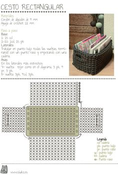 maybe a matching crocheted storage basket (from zpagetti type tshirt yarn) to match a grey crochet bath mat . Crochet Storage, Crochet Box, Crochet Diagram, Crochet Purses, Crochet Crafts, Crochet Projects, Free Crochet, Diy Storage, Single Crochet