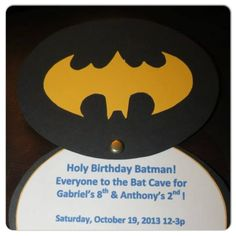 """Batman Birthday Party Invitation... Inside of invite.  Loved the way they turned out.  But best of all when my boy saw them he yells """"Those are so cool!""""  Mission accomplished!!"""