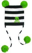 Kid's Skull Pom Pom Hat Black/Green by Sourpuss Clothing