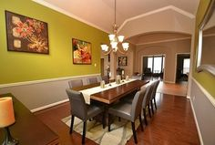 Contemporary Dining Room with Hardwood floors, Armstrong Flooring 2 1/4 in. Solid Hardwood Strip Oak, Crown molding