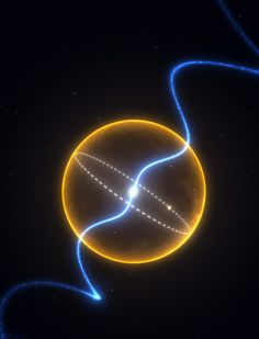 The Diamond Planet. The pulsar at the centre of the image is orbited by an object that is about the mass of Jupiter and composed primarily of carbon; effectively a massive diamond. The orbit, represented by the dashed line, would easily fit inside our Sun, represented by the yellow surface. The blue lines represent the radio signal from the pulsar, which spins around 175 times every second. / Sacred Geometry <3