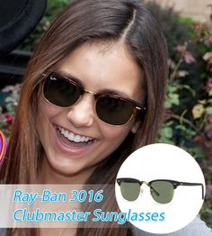 Nina Dobrev with a perfect smile wearing a RayBan-3016