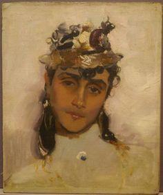 Tableau-Ancien-Huile-Portrait-Jeune-Femme-Chapeau-Impressionniste-Superbe-XIXe