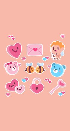 selection of nine love stickers with different designs free vector