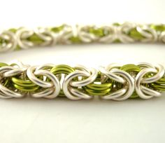 Half Price SALE Chainmaille Silver and Peridot by UnkamenSupplies