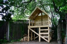 Pallet hut : There were some 12ft pallets being chucked out at university so I took them back to the garden. Decided to make a raised hut under the trees. The biggest project yet, and all for free.
