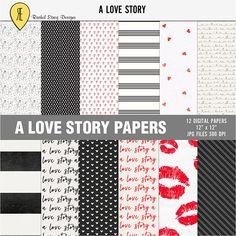 Digital valentine paper Love digital paper Love paper