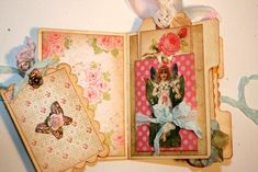 Shabby Chic Garden fairy pink roses Featured collage sheet for scrapbook and
