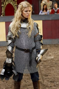"""heroineimages: """"fuckyeahwomeninarmor: """"Morgause (BBC Merlin) """" Fantasy artists take note: This is a relatively light chain mail, and yet in no way do her boobs protrude, nor does it accentuate her..."""