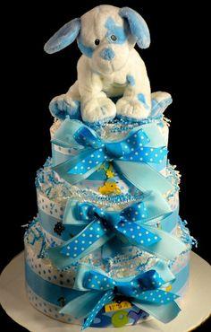 Diaper Cake 3 tier Puppy Dog Baby Boy Baby