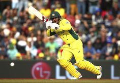 Aaron Finch of Australia bats during the 2015 Cricket World Cup match between Australia and Scotland at Bellerive Oval on March 14, 2015 in Hobart, Australia.