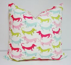 Pink Dachshund Hot Dog Pillow Decorative Pillow Cover Throw Pillow 18x18 Baby Girl Nursery on Etsy, $18.00