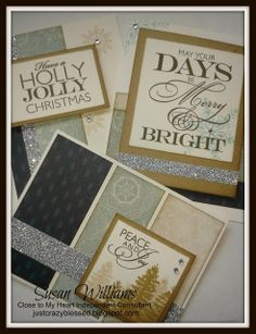 Just Crazy Blessed - CTMH Close to My Heart Frosted Christmas Card Kits (15) pre-cut cards for $20 including a full roll of adhesive backed shimmer trim & clear sparkles.