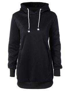 Casual Long Sleeve Drawstring Hoodie Dress in Black | Sammydress.com