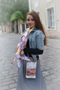 Hand dyed Silk scarf SKY by LGIFTSLithuania on Etsy