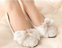 Flat Wedding Shoes Lace and Pearl Bridal Shoes by laceNbling
