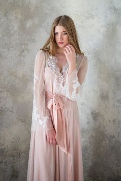Blush bridal robe // bridal robe // tulle robe // satin robe // lace robe // dotted robe // womens robe // gift for woman // gift for bride Babydoll, Blush Bridal, Bridesmaid Robes, Bridal Robes, Silk Satin, Pink Silk, Night Gown, Marie, Sexy