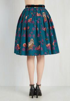Light and Aviary Skirt. A breezy afternoon among feathered friends calls for this teal skirt! #blue #modcloth