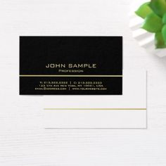Gold Striped Modern Minimalistic Simple Design Business Card - consultant business job profession diy customize