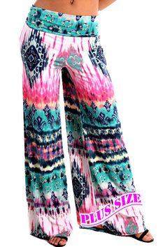 New Plus Size Auditions Pink Teal Tribal  Wide Leg Palazzo Yoga Pants 1XL 2X 3X  #Auditions #PALAZZO