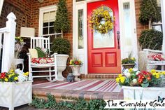 """""""Hooray for spring!"""" says this prettily decorated porch."""