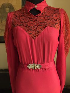 1930s Crimson Silk Crepe Art Deco Dress/Gown with Lace Sweetheart Neckline | eBay