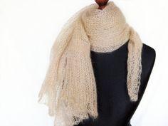 Beige silk mohair shawl asymmetrical scarf hand knit  by Renavere