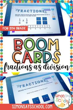 Looking to address 5th grade common core math standards in a fun and engaging way? These 5th grade math Boom cards are a great way to get your upper elementary math students practicing fractions as division. This resource is also great for 5th grade distance learning, as it is a digital math resource! #5thgrademath #5thgradedistancelearning #mathdistancelearning #5thgradefractions