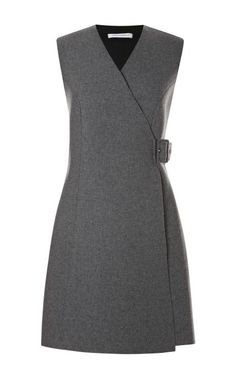 This grey wool blend sleeveless wrap dress from J. Anderson features a v-neck and tonal buckle detail at the side.Buckle wool, polyester, polyurethane, other fibersLined with slip insertMade in UKPlease note: This item is Final Sale. Winter Dresses, Casual Dresses, Fashion Dresses, Dresses For Work, Woman Dresses, Wool Dress, Dress Skirt, Dress Up, Work Attire