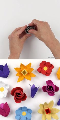 Egg carton flowers Egg carton flowers – this is a fun recycling craft idea for Spring and also for Earth Day. Egg carton flowers make a lovely handmade gift idea too! Flower Crafts, Diy Flowers, Paper Flowers, Spring Flowers, Flower Making Crafts, Handmade Flowers, Mothers Day Crafts For Kids, Diy Crafts For Kids, Recycled Crafts Kids