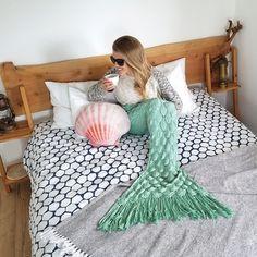 Mint Seafoam Mermaid Tail Blanket Knit Crochet by Seatail - Adorable, Cozy, Elegant Knitted Blankets, Merino Wool Blanket, Mermaid Pool, Mermaid Gifts, Mermaid Tail Blanket, Yarn Bombing, Getting Cozy, Beautiful Crochet, Knit Crochet