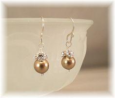 Brown Earrings, Petite Sterling Silver and Bronze Pearl Bridesmaid Earrings, Small Formal Earrings, Bronze Swarovski Pearls