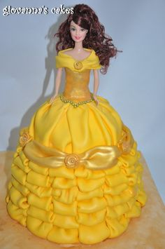 BArbie doll cake in yellow Bolo Barbie, Barbie Cake, Barbie Doll, Beautiful Cakes, Amazing Cakes, Princess Belle Cake, Ultimate Chocolate Cake, Quinceanera Cakes, Birthday Cake Decorating